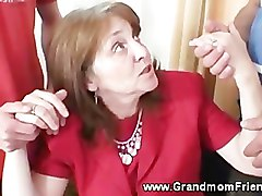 Two horny guys seduce granny
