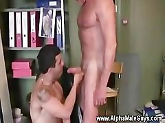 Gay stud seduces his younger co worker to suck cock