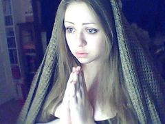 Russian Christian Blue-eyed Dark Blonde Girl Believes In God
