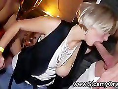 Naughty cfnm sluts party with strippers
