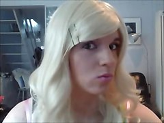 cute teen crossdresser showing off