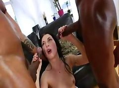 Two monster black cock in her bottom