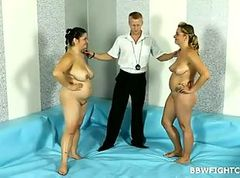 Gorgeous BBW beauties wrestling in oil