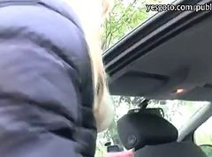 Sexy amateur blonde Czech girl backseat fucked for cash