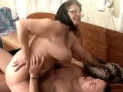 Hairy Granny In Glasses And Scarf Fucked