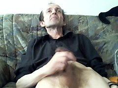 horny older man jerking like crazy and get good orgasm