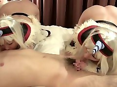 subtitled japanese cosplay twin double blowjob from heaven