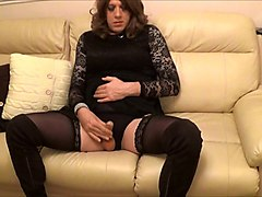 alison has some new thigh boots - wanking while butt plugged