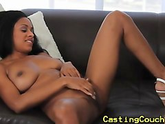 casting couch x ebony babe jizzed on