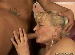 Ugly granny riding big young cock
