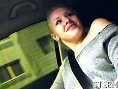 hot trimmed blonde fucked in public agents car