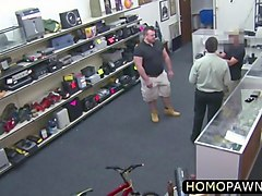 fat hairy ass thief surrender his tight virgin ass in the shop for his freedom