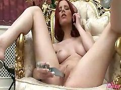 Gabrielle is horny and uses her dildo on her wet pussy to cum