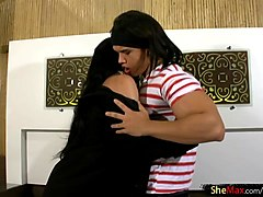 black hair femboy gives a blowjob and enjoys anal shagging