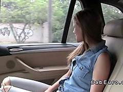 blonde babe caught cab driver touching dick