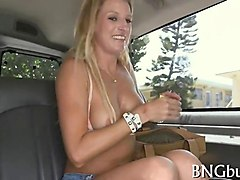blonde with perky tits shows off and fucks in bus