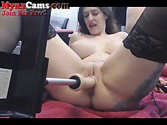 hot webcam girl squirts with fuck machine