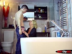 mother huge boobs leigh darby washing your friend with blowjob
