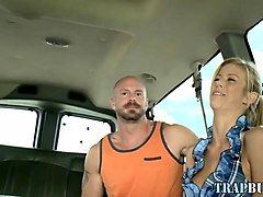 blindfolded guy gets his twink dick sucked off in bus
