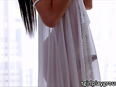 slender trans fanny pumps her asian dick in oriental masturbation