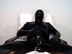 black-face accessibility catsuit using the cock part 1