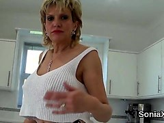 Unfaithful british mature lady sonia flashes her ### boobs
