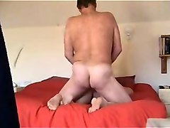 mature uncle banging his girlfriend in a doggy position in my bed