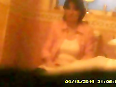 Voyeur of mature girlfriend on the toilet