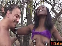 African bitch fucked in the forest