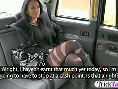 woman in pantyhose nailed and facialed by the driver
