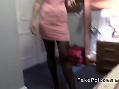 Babe in lingerie licks ass to fake cop