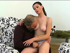 curious young babe gives a fellatio to an old crazy guy