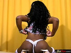 black haired shedoll plays with her big ass and black cock