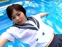 slutty asian schoolgirl blows two different guys around the