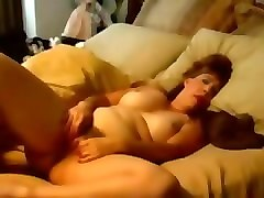 wondrous chubby mature housewife with huge boobies was teasing her slit