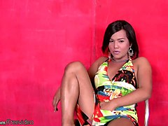 beautiful short hair femboy strips down and jerks hairy dick