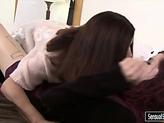 redhead tgirl chelsea let the milf suck her cock on the bed