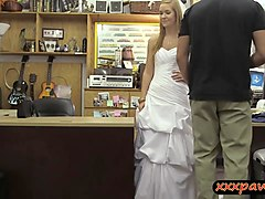Babe in wedding gown drilled by pawn guy