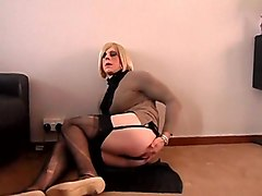 Crossdresser cums 3 times