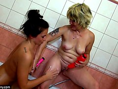 hot and busty white brunette teen in the shower room with granny
