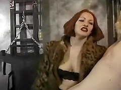 Red-head Dominatrix Rubs Up Man and Teases with Pain!