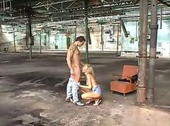 Couple kissing and fucking in abandoned building