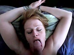 Redhead blowjob with piss fucked and swallowing sperm