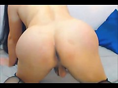 beautiful asian transsexual fingering her ass