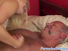 Eurobabe fingering old man on the bed