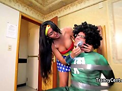 tanlined tranny enjoy facial cumshot