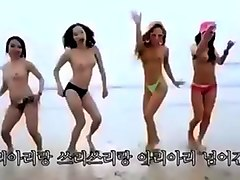 group of Korean girls nude on beach