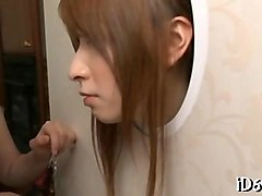 trimmed japanese slave fingered by a couple through gloryhole