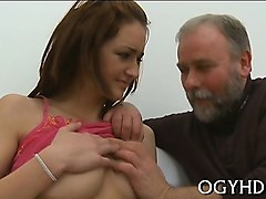 pleasant young girl gets enjoys sex with old fucker