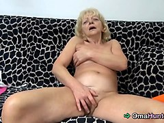 nasty granny enjoys playing with her sex toys secretly at home